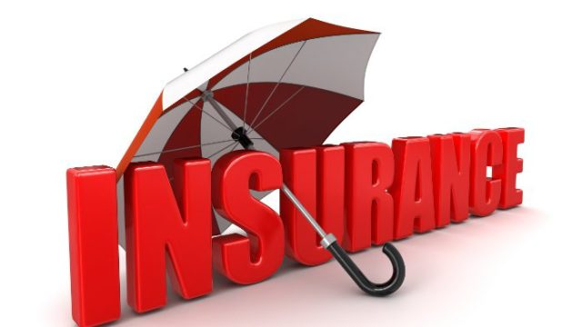 """Image of the word """"Insurance"""" with a red and white umbrella leaning through it"""